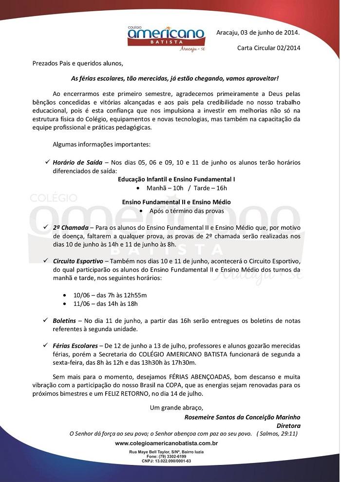 Amado Comunicado Final de 1º Semestre Letivo : Colégio Americano Batista XO24